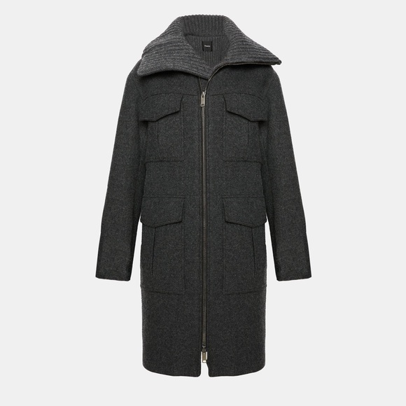 2527e722ff Theory Jackets & Coats | Charcoal Wool Twill Military Coat | Poshmark